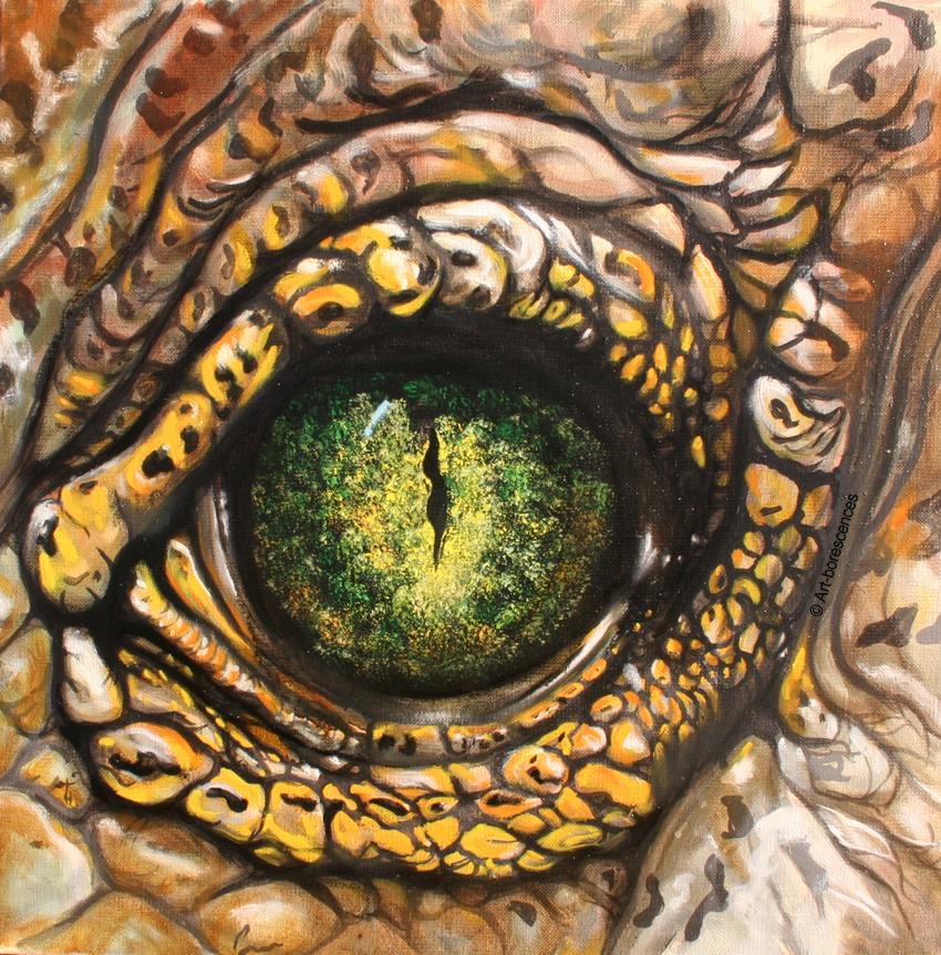 Animaux art borescences peintures for Peinture crocodile